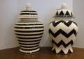 Black-White Ceramic Temple Jars