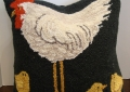 Chicken with Chicks Wool Hook Pillow