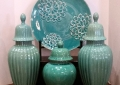 Ceramic Turquoise Plate and Lidded Jars